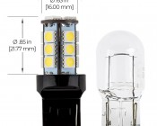 7440 LED Boat and RV Light Bulb - 18 SMD LED Tower - Wedge Retrofit: Profile View