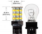 7443 Switchback LED RV Light Bulb - Dual Function 60 SMD LED Tower - A Type - Wedge Retrofit: profile View With Incandescent Comparison