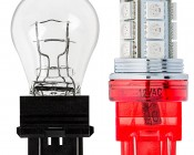 7443 CK LED Bulb - Dual Intensity 18 SMD LED Tower: Profile View with Size Comparison to Incandescent Bulb