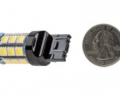 7440/7443 CK LED Bulb - Dual Function 27 SMD Tower - Wedge Retrofit: Back View with Size Comparison