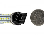 7443 LED Bulb - Dual Function 28 SMD LED Tower - Wedge Retrofit: Back View with Size Comparison