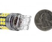 7443 LED Bulb - Dual Function 45 SMD LED Tower - Wedge Retrofit: Back View with Size Comparison