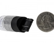 7443 LED Bulb w/ Reflector Lens - Dual Function 1 High Power LED - Wedge Retrofit: Back View with Size Comparison