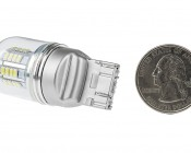 7443 LED Bulb w/ Stock Cover - Dual Function 36 SMD LED Tower - Wedge Retrofit: Back View with Size Comparison