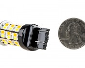 7443 Switchback LED Bulb - Dual Function 60 SMD LED Tower - A Type - Wedge Retrofit: Back View With Size Comparison