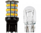7443 Switchback LED Bulb - Dual Function 60 SMD LED Tower - B Type - Wedge Retrofit: Profile View