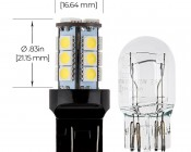 7443 LED Bulb - Dual Function 18 SMD LED Tower - Wedge Retrofit: Profile View