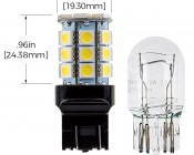 7440/7443 CK LED Bulb - Dual Function 27 SMD Tower - Wedge Retrofit: Profile View and Measurements