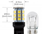 7443 LED Bulb - Dual Function 27 SMD LED Tower - Wedge Retrofit: Profile View