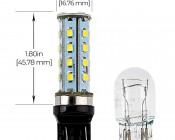 7443 LED Bulb - Dual Function 28 SMD LED Tower - Wedge Retrofit: Profile View