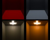 7507 (PY21W) LED Bulb - 18 SMD LED Tower - BAU15S Retrofit: Shown On In Red (Top Left), Cool White (Top Right), Warm White (Bottom Left), And Amber (Bottom Right).