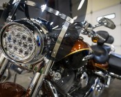"7"" Round LED Sealed Beam Headlight - H6024 LED Driving Light: Shown Installed On Harley."