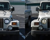"7"" Round 91W Driving Light Insert with Bracket - High Powered LED Work Light: Shown Installed In TJ Model Jeep Wrangler (Left) Compared To Standard Halogen Bulbs (Right)."