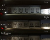 "7"" Round LED Sealed Beam Headlight - H6024 LED Driving Light: Shown Compared To Halogen Bulbs 100' From Target."