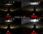 "7"" Round LED Sealed Beam Headlight - H6024 LED Driving Light: Installed On Harley Motorcycle And Shown Compared To Halogen Bulb."