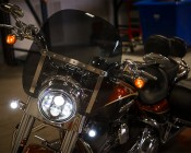 """7"""" Round Motorcycle Headlight - DOT Approved LED Headlight Conversion: Shown Installed On A Motorcycle."""