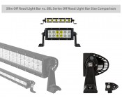 """7"""" Slim Off Road LED Light Bars - 18W - 1,650 Lumens: Showing Physical Size Comparison Of Slim And Regular Bars."""