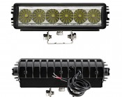 "8"" Heavy Duty Off Road LED Light Bar - 18W: Front & Back View"