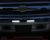 "8"" Heavy Duty Off Road LED Light Bar 18 watt mounted on Chevy Truck"