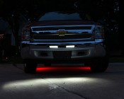 "LED Work Light - 5-1/2"" Rectangle - 18W mounted in grille as DRLs on Chevy Truck"