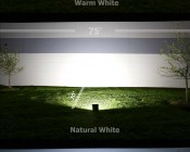 80 Watt High Power LED Flood Light Fixture: Showing Beam Pattern In Warm, Natural, And Cool White.