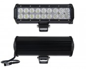 """9"""" Heavy Duty Off Road  LED Light Bar - 54W: Front & Back View"""