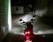 Motorcycle LED Headlight Conversion Kit - 9005 LED Headlight Conversion Kit with Aluminum Finned Heat Sink: Headlight Beam From Motorcycle View