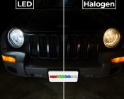 LED Headlight Kit - 9005 LED Headlight Conversion Kit with Aluminum Finned Heat Sinks: LED vs Halogen Comparison