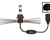 LED Headlight Kit - 9007 LED Headlight Conversion Kit with Aluminum Finned Heat Sinks: Profile View