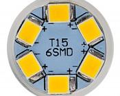 921 LED Bulb - 6 LED Forward Firing Miniature Wedge Retrofit: Front View