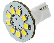 921 LED Boat and RV Light Bulb - 9 SMD LED Disc - Miniature Wedge Retrofit - 130 Lumens