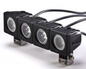 AUX-10W-SxB - Units can be attached to create custom modules such at this with two spot and two flood lights