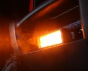 Amber light bar on UTV showing the beam.