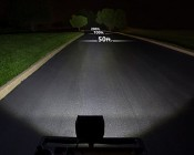 6.5 inch 72 Watt Quad Row Heavy Duty Off Road LED Light Showing Beam Patterns: Flood (left), Spot (middle), & Combo (right)