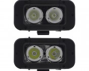 20 Watt Dual LED Mini Work Light : Front View Showing Difference Between 40 Degrees (top) & 20 Degrees (bottom)