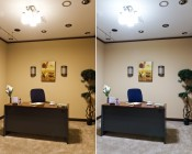 Warm White and Cool White LED globe bulbs as office lighting