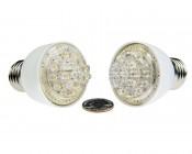 12V PAR16 LED Bulb compared to a quarter <br> Wide (100°) and Narrow (15°) Angles