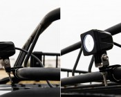 4023 - Kuryakyn Stainless Steel P-Clamp for Bar Mount with Mini AUX Light on Roof Rack