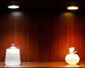 PLF-xW36SMD LED Puck Light Fixture mounted in shelf for accent light.  Two frosted glass sculptures are shown under Cool White (left) and Warm White (right).
