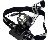 SG-N1000 - 10W LED Headlamp Flashlight mounted on included headband strap