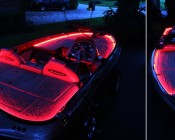 Red Weatherproof Light Strips Outline Boat