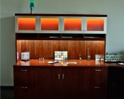 RGB LEDs used with RF controller and remote in cabinets as accent lighting