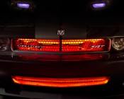 LED Light Strips behind grill and hood scoop for accent