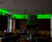 RGB LEDs installed in the cove above kitchen cabinets