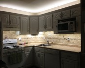 NFLS-NW3-CL Custom Length Flexible Light Strips used to outfit kitchen cabinets with over and under lighting.