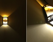 E12D-xW5WC - Installed in Sconce with Cool White on bottom and Warm White on top
