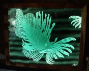 Sandblasted glass art illuminated with aqua component LEDs