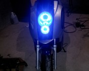 Customer's Angel Eye headlight accents on their scooter