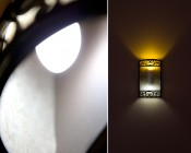 E12 Candelabra bulb in fixture <br> Warm White (top) and Cool White (bottom)