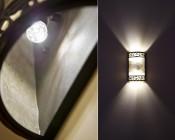 Natural White candelabra base LED bulb in fixture